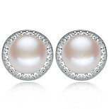 Z&X® 925 Silver Plated Elegant Classic Fresh Water Pearl Earrings Wedding/Party/Daily