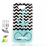 White Wave Pattern Painted Soft Phone Case And Dust Plug Stylus Pen Stand Combination for Alcatel C7