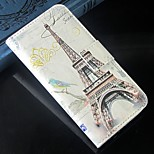 Tower and flower PU Leather Full Body Protection Cover with Stand and Card Slot for iPhone 6