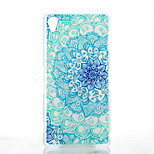 Blue and White Pattern Painted Transparent Frosted PC Material Phone Case for Sony Z3