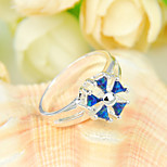 Unique Family Gift Fire Blue Opal Gem 925 Silver Statement Flower Rings For Wedding Party Daily Casual 1pc