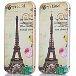 Metal Frame + Eiffer Tower And Flower Pattern Backplane Back Case Cover for iPhone 5/5S (Assorted Colors)