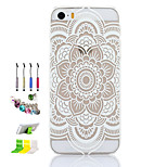 Datura Flowers Pattern Thin Transparent Hollow PC Phone Case And Dust Plug Stylus Pen Stand Combination for iPhone 5/5S