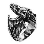 Skull Cross Wings Exaggerated Personality Rock Titanium Steel Stainless Steel Men's Ring