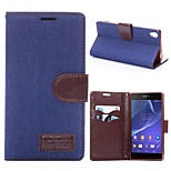 Luxury DenimPU Leather Cardholders Wallet Flip Phone Holster For Sony Xperia Z3(Assorted Color)