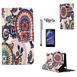 KARZEA™Circle Floral Pattern PU Leather Case with Screen Protector and Stylus and Dust Plug for Sony Xperia M2