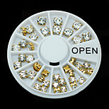 W114 1pcs Women Gift Golden Metal Rhinestones 3D Nail Art Nail Sticker Decoration Round Wheel Tips