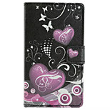 Heart Pattern Wallet Card PU Case With Stand For Microsoft Lumia 435