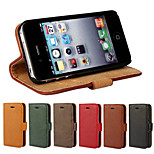 Elegant Retro Leather Grain PU Leather Case for iPhone 4/4S (Assorted Colors)