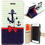 Anchor and Bowknot Pattern with Card Bag Full Body Case for iPhone 6