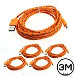 5pcs tejido trenzado 3m micro usb cable del cargador de datos de sincronización