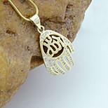 18K Golden Plated Allah Muslim Islamic Zircon Micro-Inclosed Hamsa Hand Of Fatima Pendant