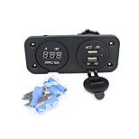 2in1 Motorcycle Phone Waterproof 2.1A/1A USB Charger Adapter+ Voltmeter Socket