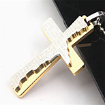 Fashion Double Layer Cross Titanium-Steel Pendant(Gold/Steel Color)(1Pc)