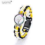 Lureme®Europestyle Brief Black Intertwine  Yellow  White Weave Parachute Cord  Life Tree Time Gem Alloy Bracelet