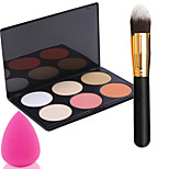 Pro Party 6 Colors Face Bronzing Powder Makeup Palette + Powder Brush+Powder Puff