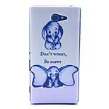 ne vous inquiétez pas être heureux éléphant motif pc matériau dur cas de téléphone pour sony xperia m2 S50H D2303 d2305