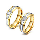 Classic Lovers Stainless Steel 18K Gold Heart Couple Rings (2 Pcs)