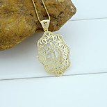 18K Golden Plated Allah Muslim Islamic Zircon Micro-Inclosed Oval Shape Hollow Out Pendant