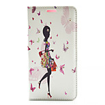 Butterfly Girl Shopping Pattern Diamond Wallet Style PU Leather with Card Slot Case for LG G4