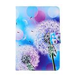 diseño de moda Coco Fun® patrón de diente de león azul violáceo de la PU del tirón del cuero caso del soporte para Apple iPad Mini 1/2/3
