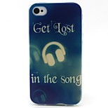 Headphone Pattern TPU Material Soft Phone Case for iPhone 4/4S