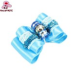 FUN OF PETS® Lovely Ribbon Style Rhinestone Decorated Rubber Band Hair Bow for Pet Dogs