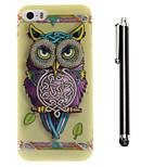 cintas búho patrón TPU suave y un lápiz táctil de la aguja para el iphone 5 / 5s