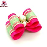 FUN OF PETS® Lovely Two-Tone Ribbon Style  Bead Decorated Rubber Band Hair Bow for Pet Dogs  (Random Color)