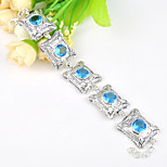 Round Fire Sky Blue Topaz Gem .925 Silver Vintage Chain Bracelets Bangles For Wedding Party Daily Holiday 1 Pc