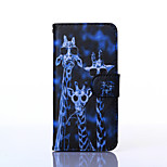 Giraffe Pattern PU Leather Material Card Full Body Case for iPhone 6
