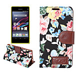 Flower Pattern Cloth Horizontal Flip Magnetic Buckle Leather Case with Card Slots & Holder for Xperia Z4 mini