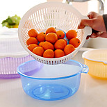 Fruit Basin Drain Basket with Lid Double Layer Vegetables Holder Home(Random Color)