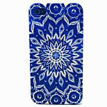 blu modello di fiori cassa del telefono materiale TPU per il iPhone 4 / 4s