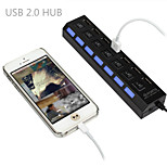 High Speed 7 Port USB 2.0 Hub Adapter Connector ON/OFF Switch For Laptop PC