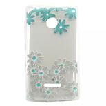 Blue Flowers Pattern TPU Painted Soft Back Cover for Nokia Microsoft Lumia 435