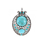 Tibetan Silver Armor Oval Blue Turquoise Gemstone Pendant Bead 3x2