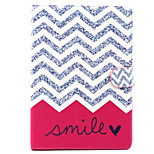 White Wave Smile Pattern PU Leather Full Body TPU Case with Card Holder for Ipad Air 2/Ipad 6