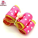 FUN OF PETS® Lovely Ribbon Style Spot Pattern Pearl Decorated Rubber Band Hair Bow for Pet Dogs  (Random Color)