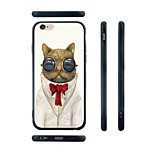 Gentleman Cat Pattern Transparent Silicone Rubber Edge Hard Back Case for iPhone 6