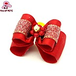 FUN OF PETS® Lovely  Ribbon Style  Bead Decorated Rubber Band Hair Bow for Pet Dogs  (Random Color)