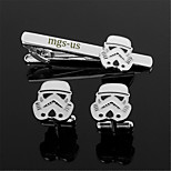 Personalized Gift Men's Engravable Silver Plain Stormtrooper Pattern Cufflinks and Tie Bar Clip Clasp(1 Set)