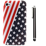 The Stars Stripes Pattern TPU Soft Back and A Stylus Touch Pen for iPhone 4/4S