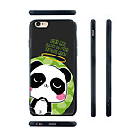Cartoon Panda Pattern Transparent Silicone Rubber Edge Hard Back Case for iPhone 6
