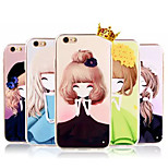 New Slim Flowers and Girls TPU Soft Shell for iPhone 6 Plus(Assorted Colors)