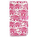 piccola rosa modello elefante pu cuoio dipinto cassa del telefono per il iphone 5 / 5s