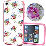 2-in-1 Bling Bling Point Flowers Pattern PC Back Cover with PC Bumper Shockproof Hard Case for iPhone 5G/5S