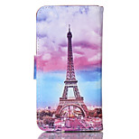 Tower Pattern PU Material Card Sided Bracket Full Body Case for iPhone 5/5S