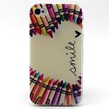 amor crayón caja del teléfono patrón del tpu para el iphone 4 / 4s