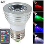 1개 E14/GU10/E26/E27 3 W 1 고성능 LED 270 LM RGB 밝기 조절/리모컨 작동 스팟 조명 AC 85-265 V